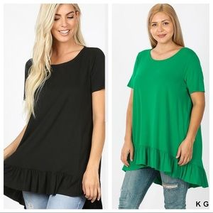 HOW WONDERFUL IT IS RUFFLE PLUS SIZE TUNIC TOP-BLK